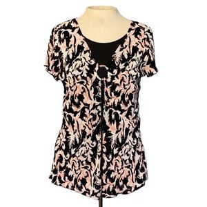 Brittany Black, short sleeve blouse, large